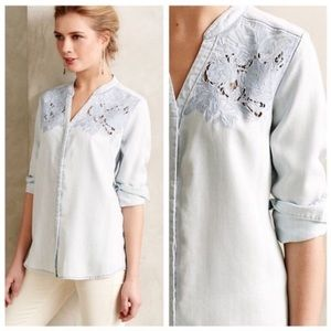 Anthropologie Holding Horses Chambray Crochet Top